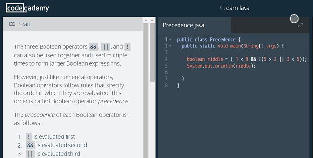 Пример за код на Codecademy Java
